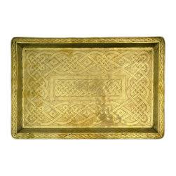 Lavish Shoestring - Consigned Brass Serving Tray w/ Engraved Celtic Knot Motif, Colonial Nigerian - This is a vintage one-of-a-kind item.