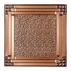 CT-209 Ceiling Tile - Antique Copper - Made from UV stabilized .35 mm vinyl thermoplastic.These tiles may be used in a grid system. These tiles are easy to install, easy to clean, stain and water resistant, resource friendly and delivered direct to your door! Please note that there is no minimum order on our in stock ceiling skins, so you may order single tiles if you want to see what they look like before placing a larger order.