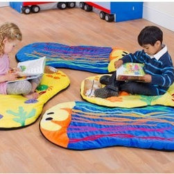 Kalokids Ocean Life Snuggle Mats - Brightly colored and perfect for sharing, the Kalokids Ocean Life Snuggle Mats are perfect for reading, relaxing, and even napping. The plush fabric covers are removable and washable. This pack of four includes two jellyfish and two seashell mats. The mats are easily rolled up and stored in the included transparent tote.About KalokidsKalokids mission is creating practical, innovative products for the growth and development of children's minds, bodies, and overall sense of well-being. Their stringent quality standards have been internationally recognized and they are continuously improving processes to enhance the final product as well as customer satisfaction. They utilize their in-house design team to react quickly to consumer demands and evolving markets. Every aspect of each design is carried out by their team. Kalokids designers work closely with team members who research the market to bring the latest concepts to fruition.