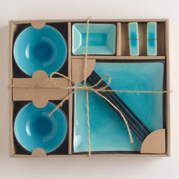 10-pc Aqua Crackle Sushi Set - I'd find every excuse to have sushi for dinner with this aqua set!