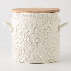 Verdant Bread Bin - I just love the girly, but not overly so, design and dual functionality of this storage jar: the top doubles as a cutting board for bread and rolls.