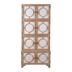 """Kathy Kuo Home - Vance Modern Hollywood Light Oak Milk Glass China Cabinet - Tall and tan and young and lovely, this beauty will make you go """"ooh."""" The milky white glass doors are fronted with round mullions and bronze knobs that swing open so cool and gentle. Inside, there are several adjustable shelves to hold everything from tableware to bath items. However you use it, you'll give your heart gladly."""