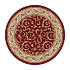 Tayse Rugs - Elegance Red, Green and Blue Round: 7 Ft. 10 In. Rug - - Scrollwork interior with floral border makes this rug a perfect companion to traditional or transitional d�cor. In classic colors that are always in fashion. Red with gold and ivory. Made of soft polypropylene that is easy to clean. Vacuum and spot clean.  - Square Footage: 61  - Pattern: Oriental  - Pile Height: 0.39-Inch Tayse Rugs - 5400  Red  8 Round