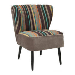 Striped Modern Chair - A simple silhouette paired with a playful multi-stripe fabric give this retro-inspired chair timeless appeal. It's full of mid-century design details we love, like its black painted birchwood legs, the V-shaped backrest, and a comfy, wide seat�ۡ����it's sure to become an instant favorite.
