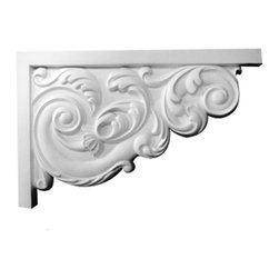 """Ekena Millwork - 8 3/4""""W x 7 1/8""""H x 5/8""""D Small Ashford Stair Bracket, Right - 8 3/4""""W x 7 1/8""""H x 5/8""""D Small Ashford Stair Bracket, Right. With the beauty of original and historical styles, decorative stair brackets add the finishing touch to stair systems. Manufactured from a high density urethane foam, they hold the same type of density and detail as traditional plaster stair bracket products. They come factory primed and can be easily installed using standard finishing nails and/or polyurethane construction adhesive."""