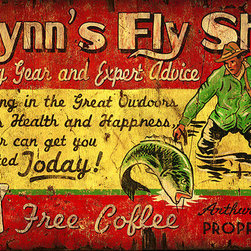 Red Horse Signs - Vintage Signs Flynns Fly Shop - Flynn's  Fly  Shop  is  what  we  call  it  but  you  can  personalize  this  rustic  vintage  sign  with  the  name  of  your  favorite  fisherman  for  a  unique  gift  or  family  vacation  home  sign.  Printed  directly  to  distressed  wood  for  a  weathered  look  this  sign  measures  14  x  26.