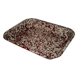 "Crow Canyon Home - Marble Enamelware Rectangular Roasting Baking Pan, 11""X 13"", Burgundy and Cream - Marble Enamelware Large Roasting Baking Pans in two sizes: D34"