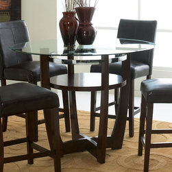 Standard Furniture - Apollo Counter Height Round Table in Deep Bro - Set includes base and glass top. Surfaces clean easily with a soft cloth. Criss-crossed legs. Center shelf. Beveled glass tops. Quality veneers over wood products and select solids are used throughout. May contain some plastic parts. Deep Brown Cherry finish. 48 in. Dia. x 36 in. H (97.9 lbs.)