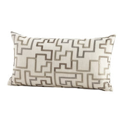 Cyan Design - Cyan Design Tetris Pillow - A modern pattern and neutral color palette create the versatile look of this Cyan Design decorative pillow. This delightful decorative pillow features a lumbar shape stuffed with feathers and downs. The silver pattern and cross-stitch detailing comes paired with a light linen colored backdrop.