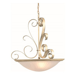 Lite Source - Lite Source Variance Traditional Inverted Pendant Light XSL-LRAEP3501 - Elegantly decorate your home with the traditional stylings of the Lite Source Variance Inverted Pendant Light. It boasts a cloud glass shade that diffuses light with timeless sophistication and features the traditional dome design. The body is superbly detailed with bursting curves and is finished in a Brushed Brass finish. Don't neglect your traditional home and order this fixture today.