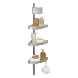 "Better Sleep - Telescoping Corner Shower Caddy With Plastic Shelves - This corner caddy shelf easily adjusts via an aluminum tension pole. It's made of stainless steel and has three removable plastic shelves that are 1"" D."