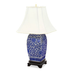 China Furniture and Arts - Blue And White Porcelain Lamp - The quiet beauty of this 18th century flower design is still highly regarded by collectors today. Square shaded lamp is hand painted on high-fired glazed porcelain; topped with ivory silk shade. Rosewood base. 75-watt max. (Bulb not included)