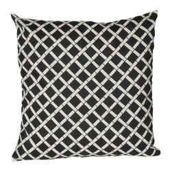 HRH Designs - 20X20 Indoor/Outdoor Throw Pillow, Black - 20X20 Indoor/Outdoor Bamboo Throw Pillow