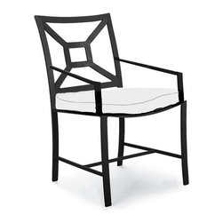 Frontgate - Milano Aluminum Dining Arm Chair - Handcrafted wrought iron endures four season's of use. Multi-step powdercoating process adds lasting beauty and protection. Optional chair cushion increases the level of comfort. The sturdy Milano Outdoor Wrought-iron Dining Chairs are deftly cast for years of enjoyment. Distinctive Chippendale-styling complements most dining collections, including the mosaic dining tables by KNF. . . .