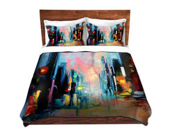DiaNoche Designs - Duvet Cover Microfiber - Faces of the City 148 - Super lightweight and extremely soft Premium Microfiber Duvet Cover in sizes Twin, Queen, King.  This duvet is designed to wash upon arrival for maximum softness.   Each duvet starts by looming the fabric and cutting to the size ordered.  The Image is printed and your Duvet Cover is meticulously sewn together with ties in each corner and a hidden zip closure.  All in the USA!!  Poly top with a Cotton Poly underside.  Dye Sublimation printing permanently adheres the ink to the material for long life and durability. Printed top, cream colored bottom, Machine Washable, Product may vary slightly from image.