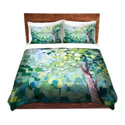 DiaNoche Designs - Duvet Cover Microfiber - Breeze - DiaNoche Designs works with artists from around the world to bring unique, artistic products to decorate all aspects of your home.  Super lightweight and extremely soft Premium Microfiber Duvet Cover (only) in sizes Twin, Queen, King.  Shams NOT included.  This duvet is designed to wash upon arrival for maximum softness.   Each duvet starts by looming the fabric and cutting to the size ordered.  The Image is printed and your Duvet Cover is meticulously sewn together with ties in each corner and a hidden zip closure.  All in the USA!!  Poly microfiber top and underside.  Dye Sublimation printing permanently adheres the ink to the material for long life and durability.  Machine Washable cold with light detergent and dry on low.  Product may vary slightly from image.  Shams not included.