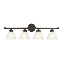 Murray Feiss - Murray Feiss New London Bathroom Lighting Fixture in Oil Rubbed Bronze - Shown in picture: New London Vanity Strip in Oil Rubbed Bronze finish with Acid etched glass shade