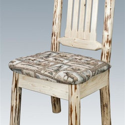 Montana Woodworks - Handcrafted Side Chair - Heirloom quality. Skip-peeled by hand using old fashioned draw knives. Upholstered seat in the wildlife pattern. Slat style back increases comfort. Made from solid U.S. grown wood. Made in USA. No assembly required. Seat height: 18 in.. Overall: 19 in. W x 18 in. D x 38 in. H (20 lbs.). Warranty. Ready to Finish. Use and Care InstructionsThis wonderful dining side chair is as comfortable as it is unique. This chair incorporates the tried and true mortise and tenon joinery system that has served as a symbol of durability for millennia.