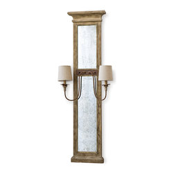 Kathy Kuo Home - Vivant French Country Wood Antique Mirror with Sconces - Combining Rustic Lodge and French Country, this long, tall distressed wood and mirror sconce accents an entryway and enhances a hallway. Antique metal bases hold 2 candelabra bulbs within natural ivory lampshades.