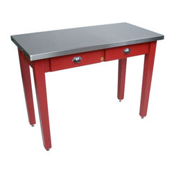 John Boos - Cucina Americana Milano Prep Table with Stainless Steel Top - The Cucina Palazzo Prep Table blends professional stainless steel with a country red base. Since 1887, John Boos & Co. has proudly offered fine butcher blocks, cutting boards, kitchen workstations and carts, and other food preparation products. Generations of professionals have used them in restaurants, commercial and institutional foodservice, government and educational foodservice, even the White House. Add a touch of professionalism with a product from John Boos today! Features: -Food service grade 300 Series 18/8 stainless steel surface.-Reinforced with 1.5'' solid underlayment.-Two dovetailed maple drawers.-Hard maple base.-Cucina Americana collection.-Collection: Cucina Americana.-Distressed: No.-Country of Manufacture: United States.-Product Type: Prep table.-Base Finish: Barn red painted base.-Counter Finish: Stainless steel.-Hardware Finish: Zinc coated.-Powder Coated Finish: No.-Gloss Finish: Yes.-Base Material: Maple.-Counter Material: Stainless steel.-Hardware Material: Zinc coated.-Solid Wood Construction: Yes.-Stain Resistant: No.-Warp Resistant: No.-Exterior Shelves: No.-Drawers Included: Yes -Number of Drawers: 2.-Push Through Drawer: No.-Drawer Glide Extension: Yes.-Dovetail Joints: Yes.-Drawer Dividers: No.-Drawer Handle Design: Metal finger pulls..-Cabinets Included: No.-Towel Rack: No.-Pot Rack: No.-Spice Rack: No.-Cutting Board: No.-Drop Leaf: No.-Drain Groove: No.-Trash Bin Compartment: No.-Stools Included: No.-Casters: No.-Wine Rack: No.-Stemware Rack: No.-Cart Handles: No.-Finished Back: Yes.-Swatch Available: Yes.-Commercial Use: Yes.-Recycled Content: No.-Eco-Friendly: No.-Product Care: Clean stainless steel top with Boos Stainless Steel Cleaner.Dimensions: -48'' W x 24'' D x 36'' H.-48'' W x 24'' D x 30'' H.-60'' W x 30'' D x 36'' H.-60'' W x 30'' D x 30'' H.-60'' W x 36'' D x 36'' H.-60'' W x 36'' D x 30'' H.-Shelving: No.-Drawer: Yes.-Cabinet: No.-Stool: No.-Overal