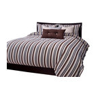 SIS Covers - SIS Covers Beachcomber Stripe Sand Duvet Set - 6 Piece California King Duvet Set - 5 Piece Twin Duvet Set Duvet 67x88, 1 Std Sham 26x20, 1 16x16 dec pillow, 1 26x14 dec pillow. 6 Piece Full Duvet Set Duvet 86x88, 2 Std Shams 26x20, 1 16x16 dec pillow, 1 26x14 dec pillow. 6 Piece Queen Duvet Set Duvet 94x98, 2 Qn Shams 30x20, 1 16x16 dec pillow, 1 26x14 dec pillow. 6 Piece California King Duvet Set Duvet 104x100, 2 King Shams 36x20, 1 16x16 dec pillow, 1 26x14 dec pillow6 Piece King Duvet Set Duvet 104x98, 2 Kg Shams 36x20, 1 16x16 dec pillow, 1 26x14 dec pillow. Fabric Content 1 80 Polyester 20 Cotton. Guarantee Workmanship and materials for the life of the product. SIScovers cannot be responsible for normal fabric wear, sun damage, or damage caused by misuse. Care instructions Machine Wash. Features Reversible Duvet and Shams.