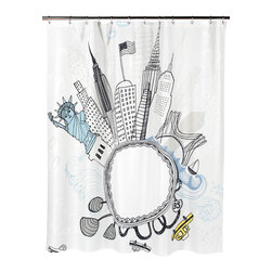 """Funky City"" Fabric Shower Curtain - ""Funky City"" Heavier Weight Fabric shower curtain, 100% polyester, size 70""x72"". Leave the town and head to ""Funky City"" with this Fabric Shower Curtain's fun, modern city motif. Made to fit standard-sized bathtubs or showers (curtain measuring 70'' w x 72'' l), ""Funky City""  is made with a premium quality polyester fabric, giving it added weight and durability. This curtain is both machine-washable and water repellant (no liner required). Machine wash in warm water, tumble dry, low, light iron as needed"