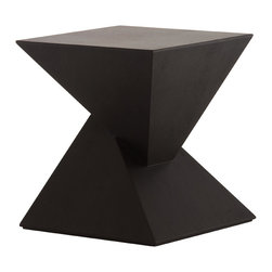 Nuevo Living - Giza Side Table, Black Oak - -Unique geometric design