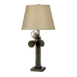 Bedside Lamp: Prop 29 in. Weathered Steel Table Lamp 32129WS