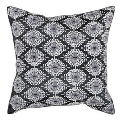 Surya Rugs - Black and White Pattern 22 x 22 Pillow - This patterned pillow livens up any room. Colors of caviar, white, and mauve taupe accent this decorative pillow. This pillow contains a poly fill and a zipper closure. Add this 22 x 22 pillow to your collection today.  - Includes one poly-fiber filled insert and one pillow cover.   - Pillow cover material: 100% Polyester Surya Rugs - HH098-2222P