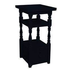 EuroLux Home - New Nightstand Black Painted Hardwood - Product Details