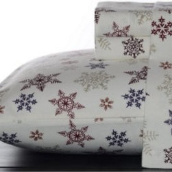 Eddie Bauer Tossed Snowflakes Flannel Sheet Set - With the Eddie Bauer Tossed Snowflakes Flannel Sheet Set on your bed, you'll be singing Let It Snow all winter. These 100% brushed cotton sheets are ultra-soft, snug, and will add a festive element to your bedroom. Comes in a variety of size options and fits up to an 18D inch mattress.About Eddie BauerSince Eddie Bauer himself strung the first racket in Eddie Bauer's Tennis Shop in 1920, the company's work ethic has always been based on innovative design and exceptional customer service. Now a household name, Eddie Bauer is more than sports goods - it's premium-quality gear, accessories, and clothing designed to complement the lives of those who love outdoor pursuits. Eddie Bauer's home collection proves the company's rugged, athletic spirit can be just as rewarding indoors, too.