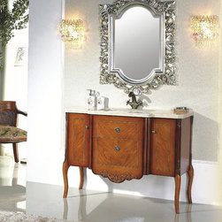 "Abriola - Transitional Bathroom Vanity Set 46"" - The Abriola is an oak solid wood, hand carved, Transitional Bathroom Vanity set. Top quality luxurious transitional bathroom vanity set including beautiful thick marble top and elegant matching framed mirror. This beautiful Transitional Bathroom Vanity is ideal for any size bathroom. The unique style of this transitional bathroom vanity captivates its extraordinary elegant feel."