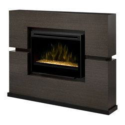 Dimplex - Dimplex Linwood Mantel with Electric Firebox (Glass Ember Bed) - Dimplex - Electric Fireplaces - GDS33G1310RG - This outstanding mantel design lends itself to the striking Grey Rift veneer finish. The patented Dimplex flame effect adds the final touch. This mantel makes a dramatic statement. The mantel is one-piece construction and requires no assembly.