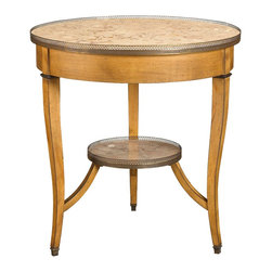 French Heritage - Courselles Round Gueridon - You get two tables in one with this stunning little side table. The smaller table below mimics the larger top piece with a round marble tabletop and charming brass gallery rail.