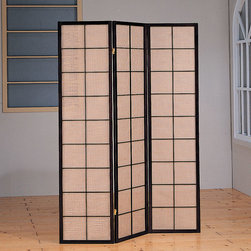 "Coaster - Dorm Room Privacy Screen - Bring hints of traditional Japanese design into your dorm room with this handsome privacy screen that utilizes classic geometric patterns. Its Cappuccino finish frame is deeply elegant, while its fabric inlay screen is functional and distinctive. This elegant and distinctive folding screen evokes an image of oriental mystery and luxury! The wood frame is finished in rich Cappuccino while the fabric inlay screen on each 17"" wide panel is attractively divided into harmonious squares in the Japanese mode. * Fabric inlay screen. Window style panes. Three panels. Cappuccino finish. 17 in. W x 70.75 in H. Warranty"