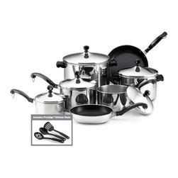 "Farberware Cookware - Farberware Classic Stainless Steel 15 Pc. Set - Farberware Classic series 15-piece Cookware Set includes 1 Qt., 2 Qt. and 3 Qt. Covered Saucepans, 4 Qt. Covered Saucepot, 8 Qt. Covered Stockpot 8"" and 10"" Nonstick Aluminum Skillets, 3 Piece Prestige Kitchen Tools (Slotted Spoon, Slotted Turner, Solid Spoon) NOTE: 8"" and 10"" Skillets are not suitable for ceramic stove tops. 'Full Cap' Base Advantage - Now a Stainless Steel protector surrounds a thicker aluminum core for easy maintenance and better heat distribution. Since the entire surface is Stainless Steel, cleanup is easier. Enjoy a lifetime of beauty. Close fitting lids create a self-basting feature that protects the food's taste and nutrients. Classically styled phenolic handles are oven safe up to 350 degrees F.  Durable Stainless Steel construction - dishwasher safe.  Thicker, rolled pan rims for extra durability, enhanced drip-free pouring and easy handling."