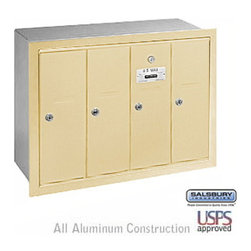 Salsbury Industries - Vertical Mailbox - 4 Doors - Sandstone - Recessed Mounted - USPS Access - Vertical Mailbox - 4 Doors - Sandstone - Recessed Mounted - USPS Access