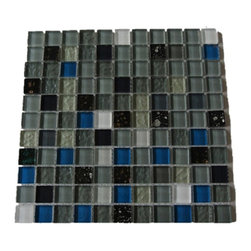 "GlassTileStore - Undersea Glass Tiles - Undersea Glass Tiles Tiles             Add a bursts of color to any room with this beautiful glass tile with a mixture of bright polished glass. This colorful design will give your kitchen, bathroom or any decorated room a bright and fresh look.         Chip Size: 1""x1""   Color:  Variety of Color -Black, Shades of Gray, White, Metallic Silver, Black, Glitter   Material: Glass    Finish: Polished and textured   Sold by the Sheet - each sheet measures 12"" x 12"" (1 sq. ft.)   Thickness: 8 mm   Please note each lot will vary from the next."