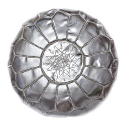 "Handmade Moroccan Leather Pouf - This little silver pouf/ottoman is good for propping up your feet and can serve as extra seating in a pinch. It also adds a little pop of glam to the space — it's a definite ""happy-maker."""
