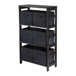 Winsome Wood - Winsome Wood Capri 3-Section M Storage Shelf w/ 6 Foldable Black Fabric Baskets - 3-Section M Storage Shelf w/ 6 Foldable Black Fabric Baskets belongs to Capri Collection by Winsome Wood This storage shelf comes with 6 foldable black fabric baskets. Warm Walnut finish storage shelf is perfect for any room in your home. Use it alone as bookcase/shelf or with baskets for a complete storage function. Assembly required for shelf. Shelf (1), Basket (6)