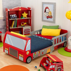 KidKraft Fire Truck Toddler Bed - Sound the alarm! There's a firetruck in the bedroom! Little firefighters will adore this bed. They can imagine riding in the truck and then sleeping safely in it at night. The ladder-shaped guard rails on the upper half provide added security too.