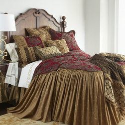 """Sweet Dreams - Sweet Dreams King Pieced Sham - Originality and opulence come together in """"Mi Amore"""" bedding by Sweet Dreams®. The look features an integrated animal and damask pattern on a rich scarlet ground, metallic embroidery, a host of fancy trims, and much more. Bedspreads have a scarlet..."""
