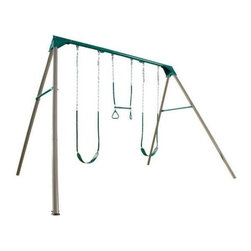 Lifetime - 3-Station Heavy-Duty Metal Swing Set in Earth - Includes 2 belt swings with soft grip chains and 1 trapeze bar. Material made of UV-protected, high-density polyethylene (HDPE) plastic, heavy-duty 3 in. diameter powder-coated steel. Free standing (no cement required). Meets ASTM safety standards. Assembly required. 5-Year limited factory warranty. Unit dimension: 156 in. L x 132 in. W x 108 in. H. Required safety zone area:  360 in L x 420 in. W. Total weight capacity: 400 lbs.Give your kids a break from TV with this commercial quality backyard swing set. A metal swing set construction means low maintenance for you. Unlike a wooden swing set, with a metal construction you don't have to worry about splinters, warping, or rough edges. Powder-coated steel and UV-protected polyethylene plastic prevents rusting and discoloration as well as heat retention, so children can play comfortably. This heavy-duty backyard swing set is approximately 2 ft. taller than cheaply built swing sets and is designed with 3 in. diameter steel posts at an extra-wide angle to provide greater stability. It is also designed with soft grip chains to prevent little fingers from getting pinched.