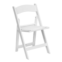 Flash Furniture - Flash Furniture Hercules Series 1000 lb. Capacity White Resin Folding Chair - This Hercules Series Folding Chair features a 1000 lb. weight capacity so that you can be assured that it will accommodate any function. From indoor or outdoor weddings to other upscale events, this resin folding chair will never let you down. Featuring a padded vinyl seat, our white folding chair will provide an excellent solution to all your event planning needs.