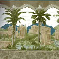 York Wallcoverings - White Town Palm Trees Wallpaper Border - Wallpaper borders bring color, character and detail to a room with exciting new look for your walls - easier and quicker then ever.