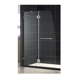 Dreamline - Aqua Lux Shower Door w Clear Glass - Full length wall profile. Hinged door. Stationary side glass panel. Made from 0.25 in. clear glass and aluminum. Chrome color. 48 in. W x 58 in. H. Warranty. Technical Drawing. Installation Manual. Marketing BrochureLooking for a modern shower door with an incomparable look? The exclusive AQUA door collection offers unique European design combined with flexible installation options and superior value. A complete AQUA door installation consists of a stationary glass panel attached to the wall with a wall profile and a hinged door designed to open outward.