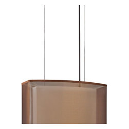 AFX - Oakley Bronze Two-Light Linear Pendant - - This contemporary clean line pendant design provides a dramatic look with a floating metal decorative mounting plate and features an outer sheer shade and a white linen inner shade. White bottom acrylic diffuser disperses the light   - Made in the USA  - Finish/Color: Oakley Bronze  - Cord/Steam Length: 108  - Unit Height: 12  - Unit Length: 18  - Unit Width: 10  - Item Weight: 7.75  - Does not include bulbs  - Material: Linen and Organza AFX - CZP226QKBMV-BZWH