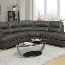 Monarch - Dark Grey Bonded Leather/Match Sectional - Simple and sleek. This fabulous contemporary sectional sofa is a nice addition to any modern living room. Wrapped in a luxurious grey bonded leather match with full foam seating, this sectional was crafted for comfort. Attached seat and back cushions, a sinuous spring base and a webbed back. Keep the fashion going with the bent polished chrome feet for support. Finish this contemporary ensemble with a glass top occasional set.