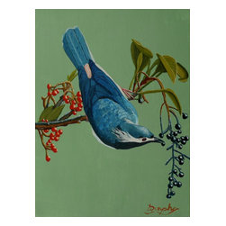 Lunchtime For Blue Bird, Original, Painting - A blue bird finds some ripe berries for lunch while hanging upside down from a tree branch.