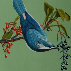 Lunchtime for Blue Bird Artwork - A blue bird finds some ripe berries for lunch while hanging upside down from a tree branch.